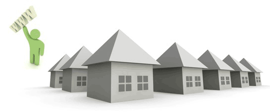 Ряд домиков и надпись www